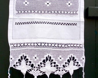 Handmade crochet curtain with atrante and lace-Cottage chic curtains-Mediterranean style-Bedroom or living room decor-2427-2429-2431
