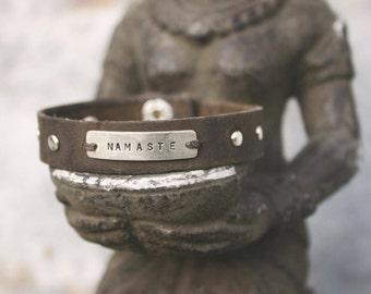 Yoga Leather Cuff Bracelet - Mantra Bracelet - Yoga Jewelry
