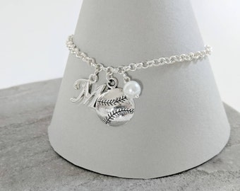 Baseball Necklace or Baseball Bracelet, Baseball Gift, Baseball Jewellery, Baseball Jewelry, Baseball Charms, Initial Jewellery
