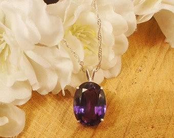 Certified Alexandrite Necklace, June Birthstone, Sterling Silver, 11.35 Ct 14.73 x 11.16 mm Natural Alexandrite Color Changing