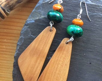 Irish Hawthorn earrings with Crysocolla and orange azurite malachite gem stones