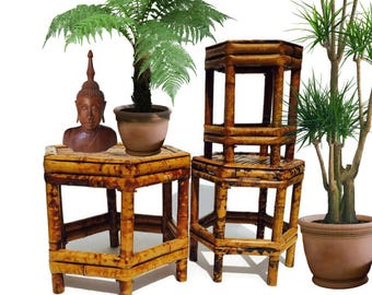 Vintage Bamboo Plant Stand Tortoiseshell Bamboo Chinoiserie Decor Hollywood  Regency Glam Patio Planter Stands 3 Piece