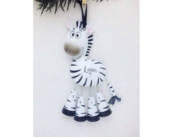 Zebra Personalized Christmas Ornament - Zoo Animal Ornament - Hand Personalized Christmas Ornament