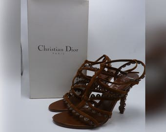 CHRISTIAN DIOR Brown Suede Leather Strappy Heeled Sandals with Scalloped Rivet Finish