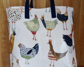Large Shopper Bag Funky Hen Print