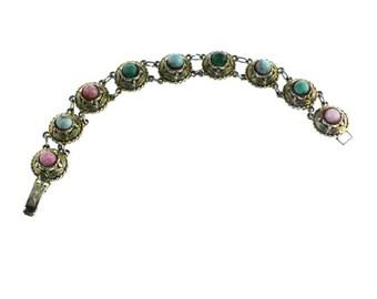 Gold Link Bracelet with Rainbow Stones, Gold Circle Bracelet, Gold Bracelet