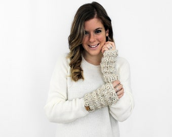 Fingerless Gloves Arm Warmers Knit Wheat- Solomon Gloves