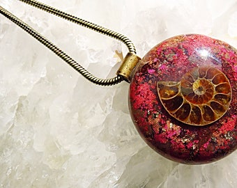 Powerful Orgone Pendant - Pink Aventurine/Red Garnet/Pyrite/Ammonite - FREE WORLDWIDE SHIPPING!