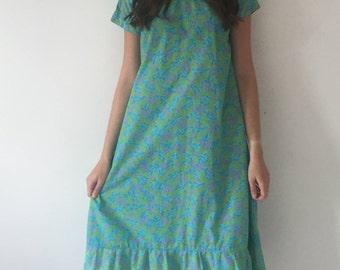 1960s Sheer floral frill hem dress