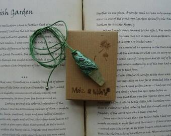 Elven Forest ~ Prehnite & Rose Quartz Pendant