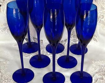 Mediterranean Blue Champagne Glasses Set of 8
