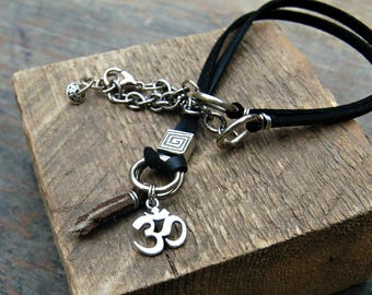 Yoga Necklace for Men, Om Necklace, Leather Necklace Men, Bohemian Necklace for Men, Boho Mens Jewelry, Omh Symbol Necklace, Zen Jewelry