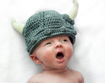 Baby Viking Costume -Toddler Viking Hat - Baby Warrior Hat  - Viking Costume for Baby - Crochet Viking Helmet - Medieval Baby Viking Beanie