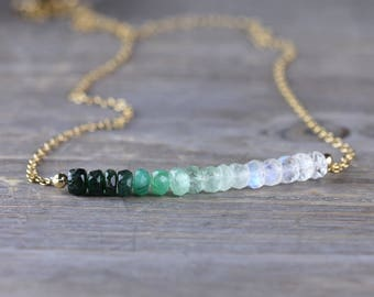 Ombre Emerald & Moonstone Necklace in Sterling Silver or Rose Gold Filled, Natural Emerald Jewelry, Beaded Green White Gemstone Necklace