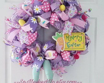 Easter Bunny wreath, Pastel Easter wreath with bunny legs, Deco mesh Easter wreath, Spring wreath, Easter Decorations, Mesh Easter wreath