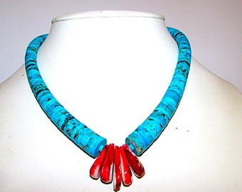 """Santo Domingo Lupe Lovato Turquoise Mountain Turquoise Spiny Oyster Heishi Jacla Necklace Sterling Silver Clasp 18"""" Long"""