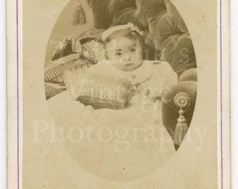 CDV Carte de Visite Photo Victorian Cute Baby Girl Sitting on Chair Holding Basket Portrait by Boname of Besançon France Antique Photograph