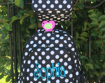 New!!!! Back to School 2017!!!! Black Dottie Collection 2 Piece Personalized Book Bag and Lunch Box