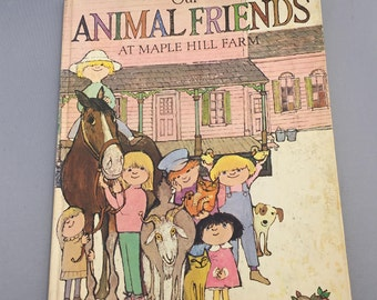 1974 Vintage Our Animal Friends at Maple Hill Farm Book, Carla & Martin Provensen, 1970s Childrens Farm Sanctuary Book, Oversize Book