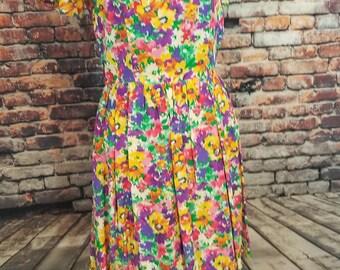 Floral 1990's Skater Dress Short Dress Summer Dress