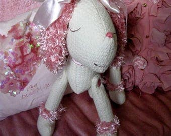 French poodle toy White pink poodle Gifts for little girls French nursery Stuffed animal dog Poodle gifts Plush dog Shabby Chic Soft toy dog