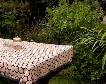 TABLECLOTH FINE COTTON Black with Rust Leaf motif in Beige Circles
