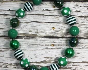 Green Multi Bead Handmade Chunky Bead Bubblegum Boutique Necklace