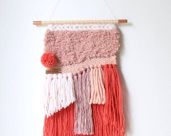 Woven wall hanging (modern tapestry) with fringes and pompom - Small - wool and cotton - pink, coral, white