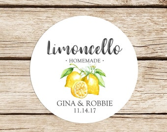 Limoncello Favor Stickers, Homemade Limoncello Stickers, Favor Labels, Limoncello Labels, Custom Favor Stickers
