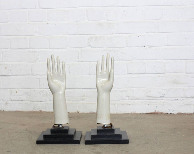 A Pair Of French Porcelain Rubber Glove Moulds Circa 1950's