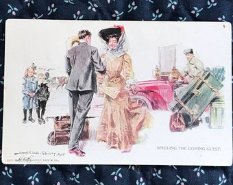 Antique 1909 Women Postcard, A Beautiful Women Welcomed Home, Signed Howard Chandler Christy Postcard, Used Pre Linen, Divided Back