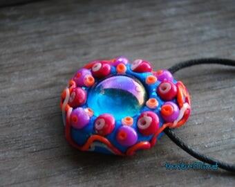 Colorful UV Blacklight Glass Pendant Trippy Clay Blacklight Reactive Necklace Party Psytrance Unisex