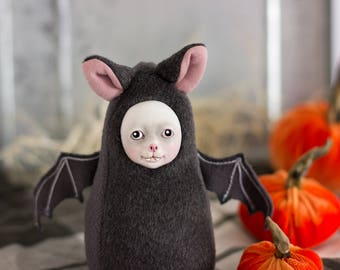 Bat doll, creepy but cute plush doll, spooky doll, vampire doll, Halloween bat, cute monster plushie, halloween party decor