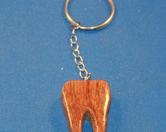 Handcrafted wood key chain Tooth