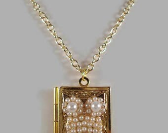 Owl Locket Necklace Pearl Locket Necklace Locket Jewelry Owl Jewelry