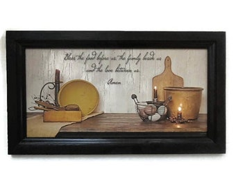 Bless the Food Before Us, Amen, Primitive Blessing, Country Decor, Wall Hanging, Handmade 21x12 Custom Wood Frame Made in USA