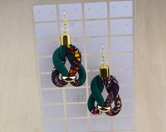 Bijoux en  wax africain, bijoux wax, african jewelry, african fabric earrings for women, bijoux ethniques, boucles d'oreilles ethniques