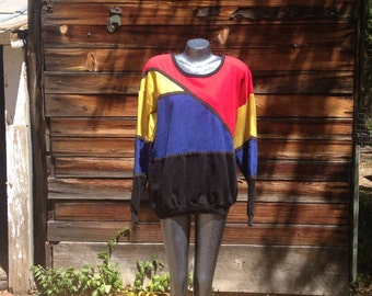 90's Color Block Sweatshirt Black, Red, Blue and Yellow Pullover long sleeved Unisex  Large Multi Color