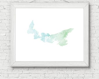 Prince Edward Island Province Printable - digital download, dorm decor, clean and simple, watercolor, minimalist art, canada outline