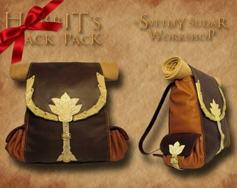 Handmade Leather Hobbit's Backpack (inspired Bilbo Baggins) / rucksack / LARP equipment / style fantasy /The Lord of the Rings / Geek