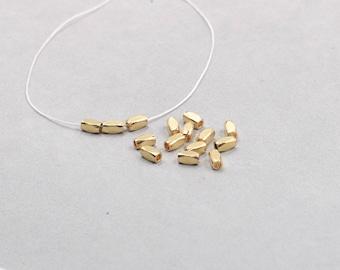 50Pcs, 6mm Raw Brass Tube Beads , Hole Size 1.5mm , SJP-A205