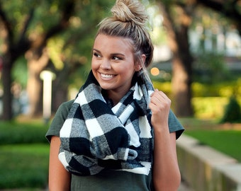 Black/White Monogrammed Londyn Infinity Scarf, Womens Monogrammed Plaid Scarf, Personalized Scarf, Embroidered Scarf, Valentine's Gift