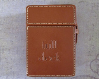 Vintage Eddie Bauer Full Deck Leather Playing Card Holder with Cards