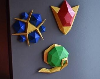 Legend of Zelda 3 piece Spiritual Stones Magnet Set. 3D Printed Goron Ruby, Zora Sapphire, Kokiri Emerald from Ocarina of Time Link Cosplay