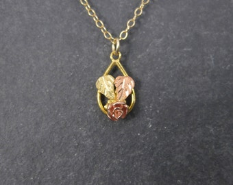 Tiny Vintage 10K Black Hills Gold Rose Pendant Necklace