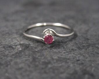 Dainty Sterling Minimalist Ruby Ring Size 7