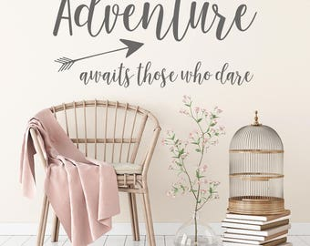 Wall Decal, Adventure awaits those who dare, Wanderlust Decal, Adventure Stickers, Wall Stickers, Wanderlust, Wall Decals, Adventure