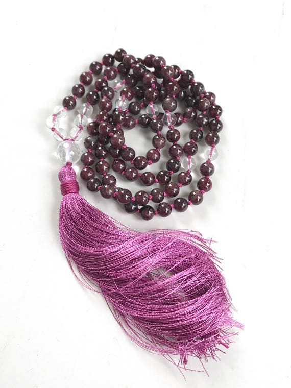Garnet And Clear Quartz Mala Necklace, Mala Beads For Courage, Root Chakra Mala Beads, Knotted Gemstone Mala Necklace With Silk Tassel