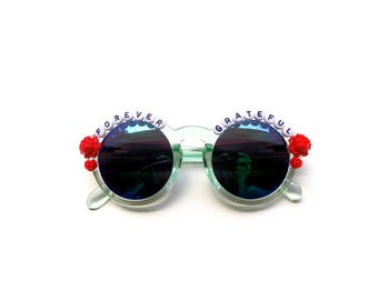 Forever Grateful hand decorated sunglasses, Grateful Dead embellished sunglasses with red roses, Dead and Company, Dead & Co Tour