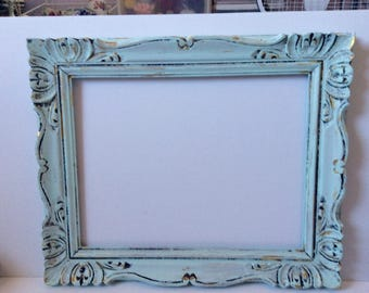 Large Ornate Picture Frame - Painted Aqua Mint Gold  -Distressed - Wedding Frame - Gallery Wall - Baby Nursery - Ornate - Victorian Decor